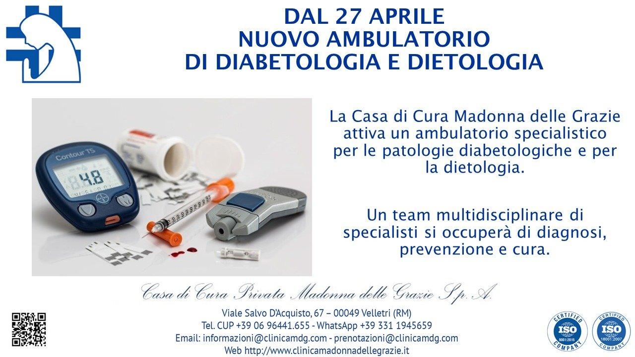 Nuovo ambulatorio specialistico per Diabetologia e Dietologia